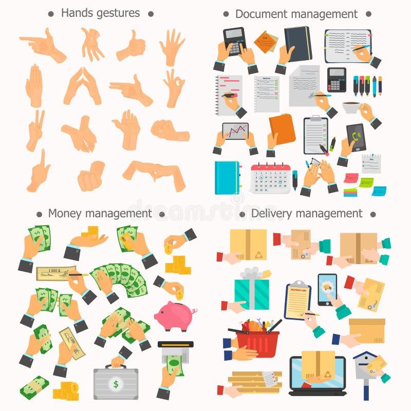递操作,交付,文件管理,被设置的货币管理颜色平的象 向量例证