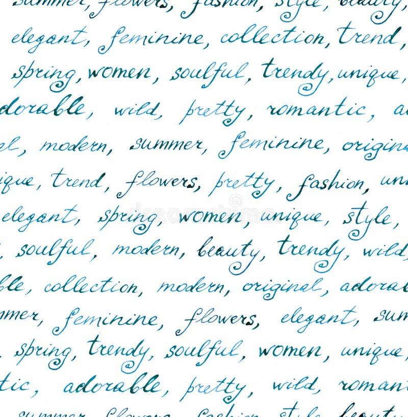 递文字-时尚和秀丽文本 无缝的模式 库存例证