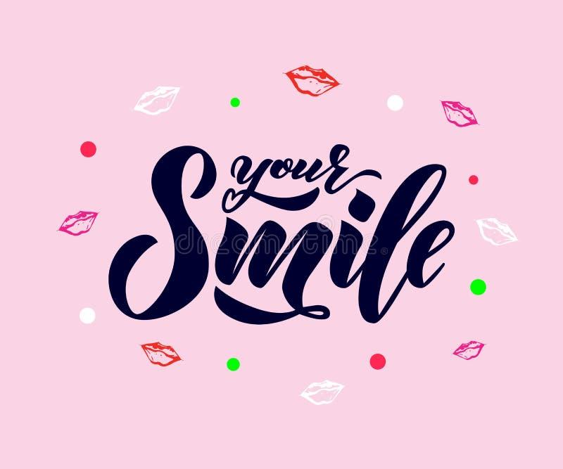 递文本字法您的与嘴唇的微笑 启发词组 传染媒介字法 库存例证