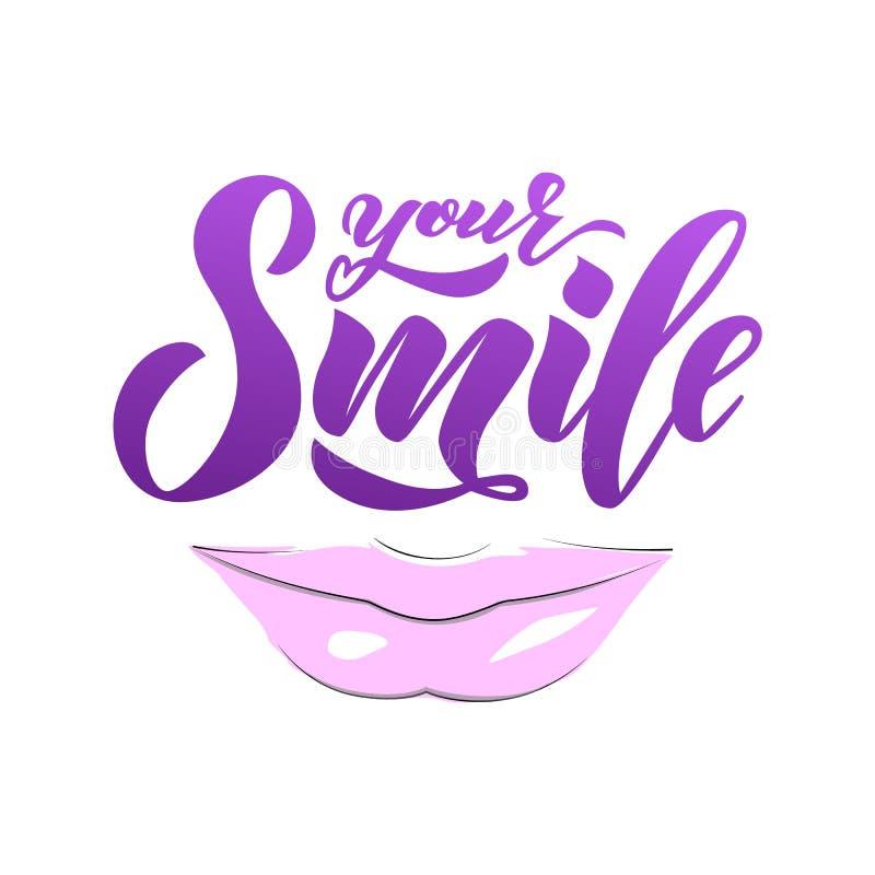 递文本字法您的与嘴唇的微笑 启发词组 传染媒介字法 向量例证