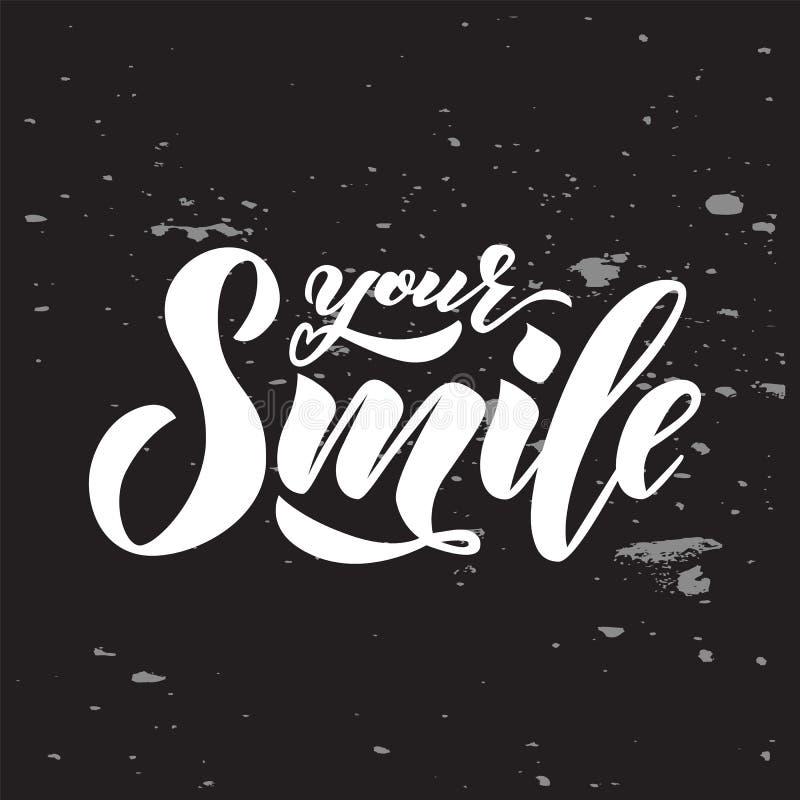 递文本字法您的在黑板的微笑 启发词组 传染媒介字法 向量例证