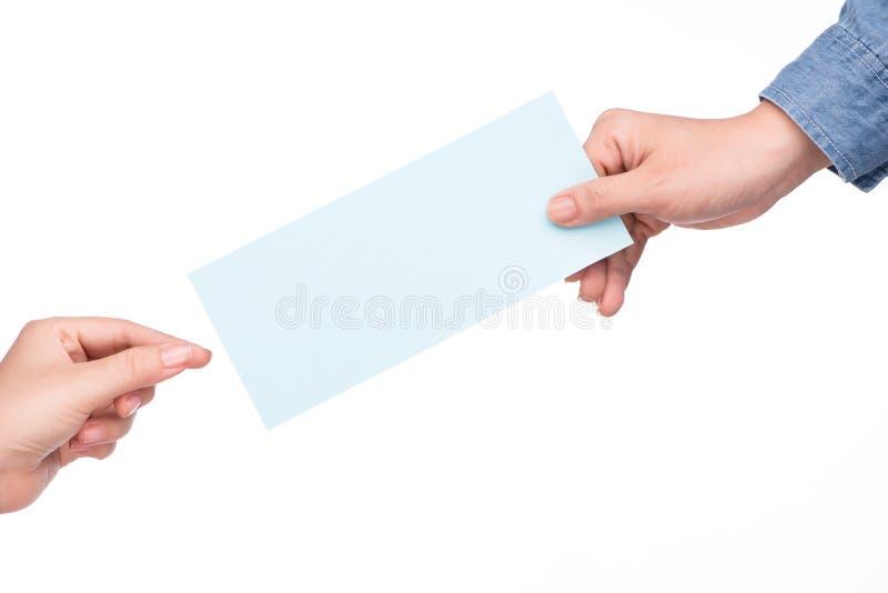 递有航空公司登舱牌票被隔绝在白色 免版税图库摄影