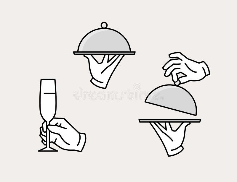递服务盘子、开头盘子和藏品香槟玻璃 向量例证
