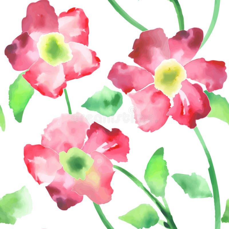递油漆水彩与桃红色花的无缝的样式 皇族释放例证