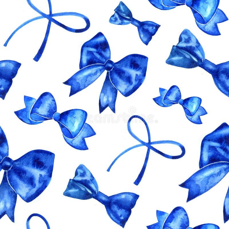 递油漆水彩与蓝色弓的无缝的样式 向量例证