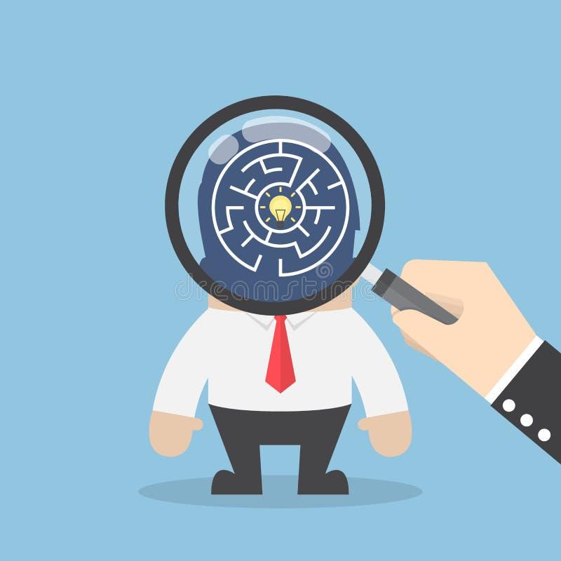 递用途放大镜对在商人头的查寻想法 向量例证
