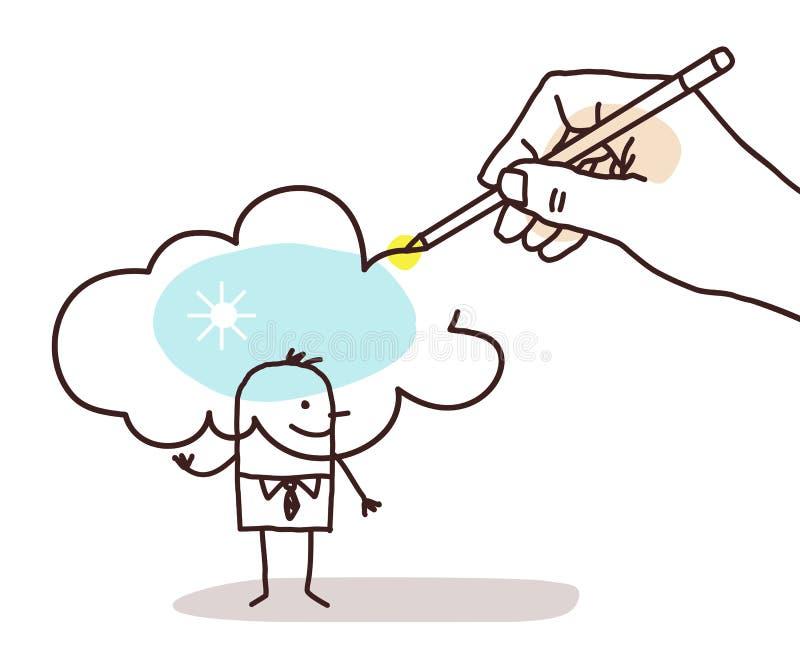 递画在一个动画片人的一朵晴朗的云彩 库存例证
