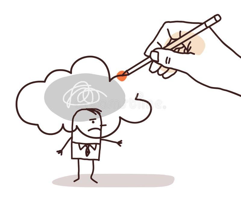 递画在一个动画片人的一朵被污染的云彩 库存例证