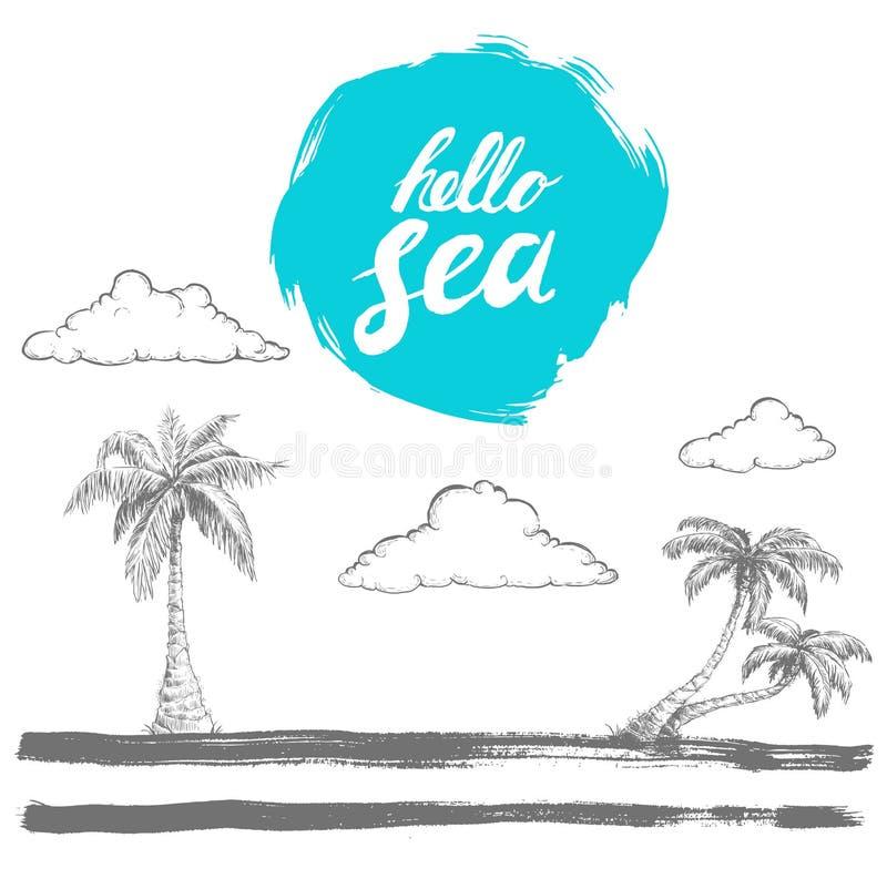 递粗胶边蓝色圈子的书面prase你好海 手拉的剪影样式棕榈和云彩在风格化海岛上 被绘的刷子 向量例证
