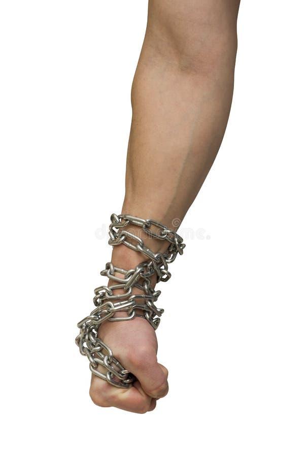 递被囚禁在背景白色 社会题材:手栓了在白色背景的一个金属链子 免版税库存图片