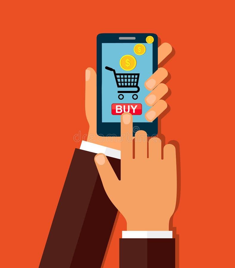 递钻孔有购买按钮的巧妙的电话在屏幕上 电子商务平的设计观念 也corel凹道例证向量 向量例证