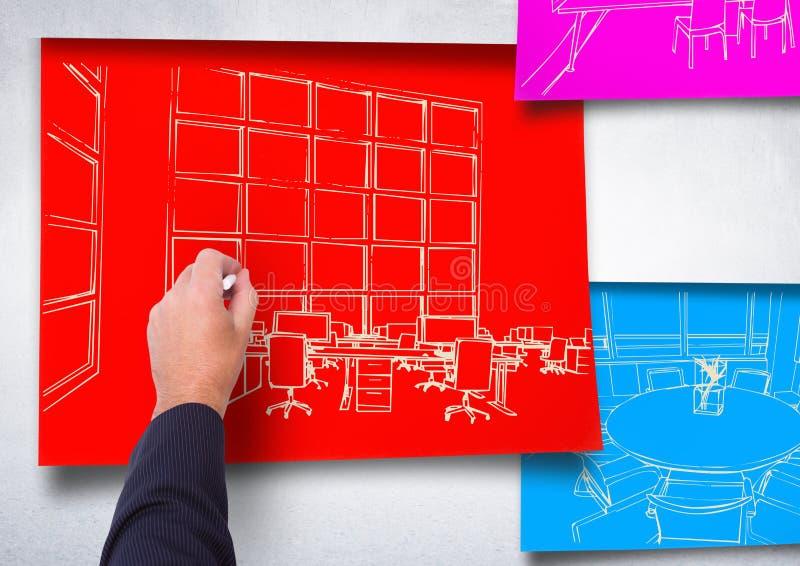 递绘图室在红色纸棍子的空白线路在墙壁上 2更图纸在蓝色和桃红色pa 向量例证