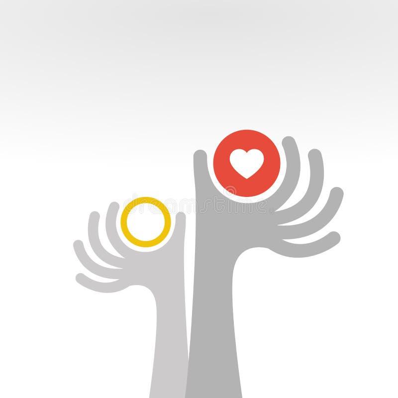 递给爱和圆环-婚姻概念-平的样式 向量例证