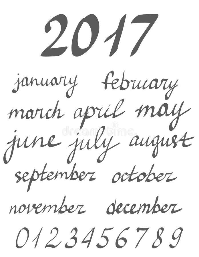 递年的书面书法月,几个月的名字 皇族释放例证