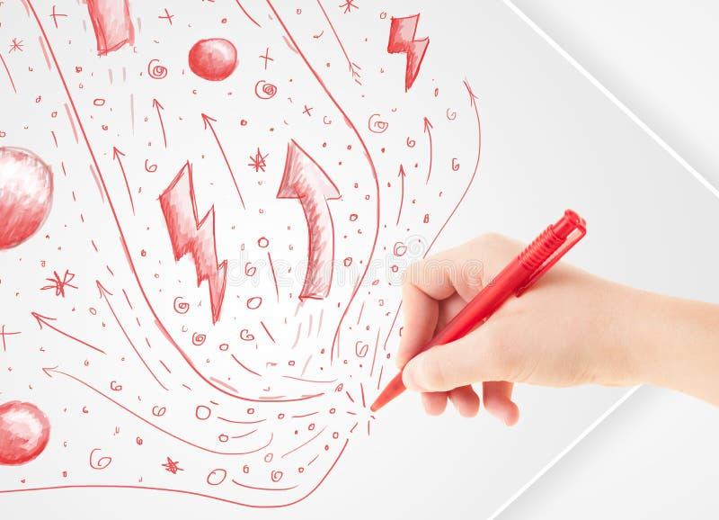 递画的抽象剪影和乱画在纸 向量例证
