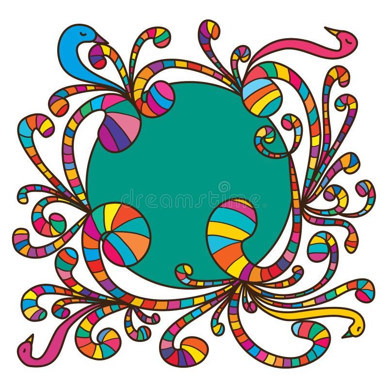 逗人喜爱五颜六色的漩涡的鸟 皇族释放例证