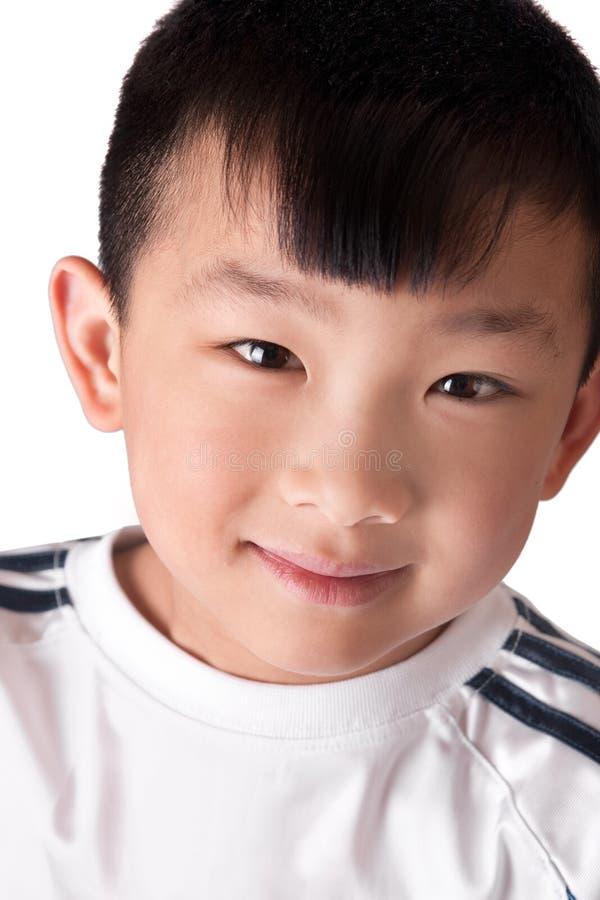 逗人喜爱亚裔的男孩 图库摄影
