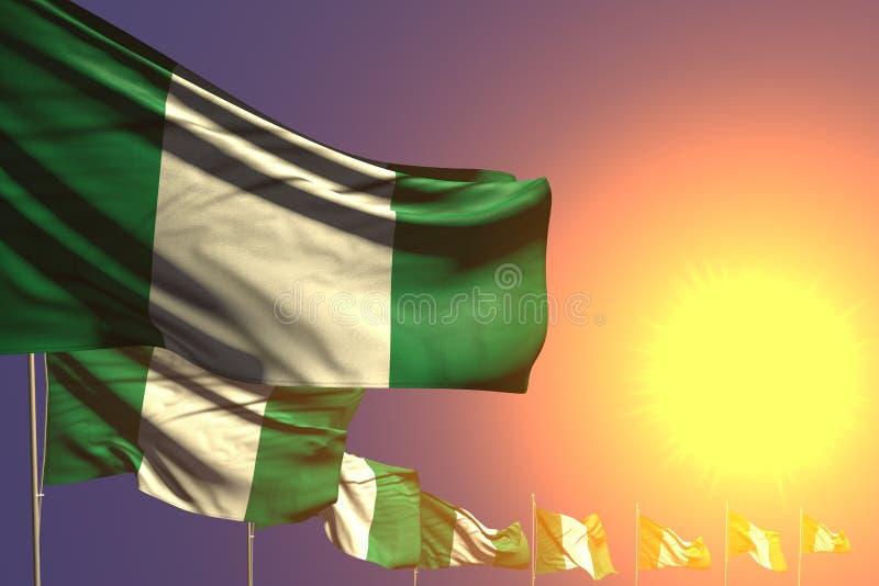 逗人喜爱任何假日旗子3d例证-许多尼日利亚旗子在与空间的日落安置了对角您的文本的 皇族释放例证