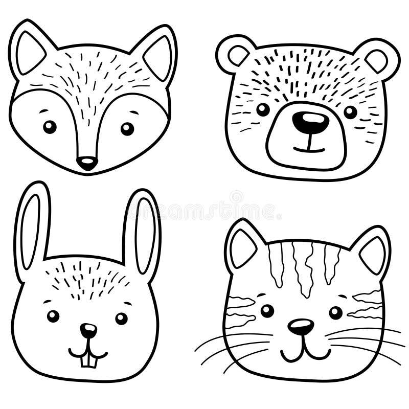 逗人喜爱动物的动画片 猫、熊、狐狸和兔子 向量例证