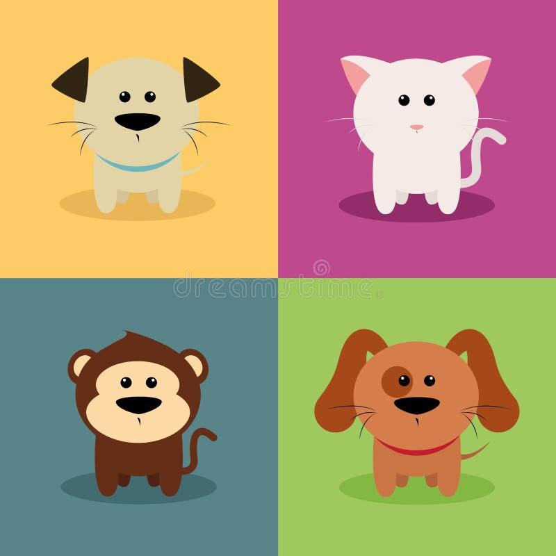逗人喜爱动物的动画片 皇族释放例证