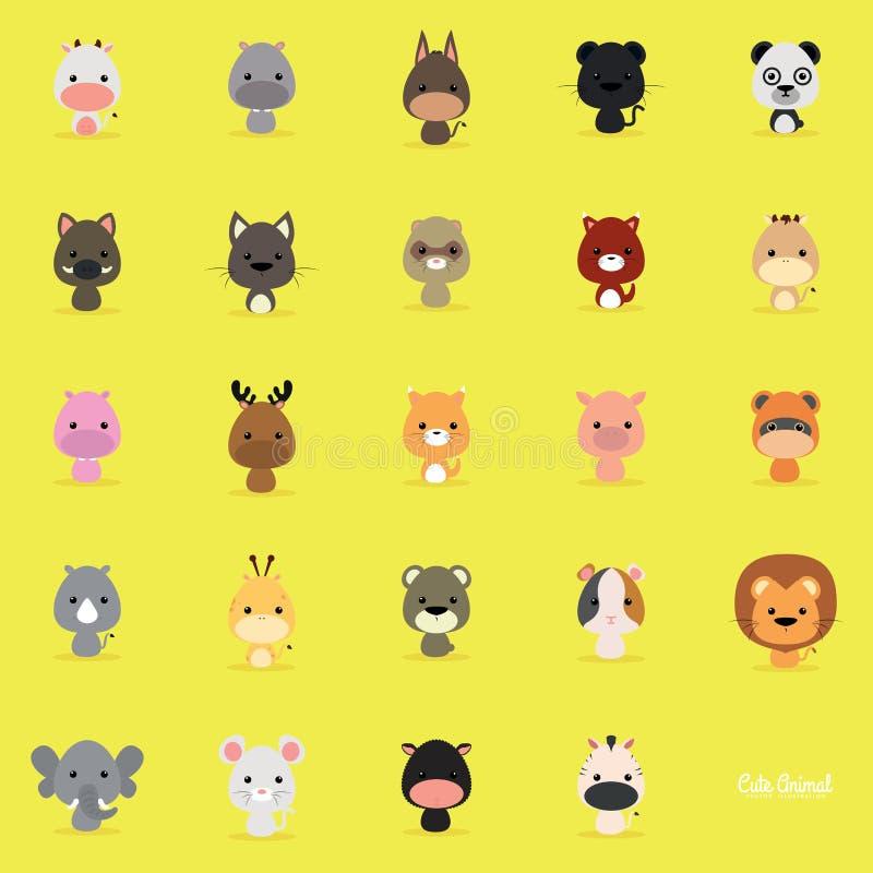 逗人喜爱动物的动画片 库存例证