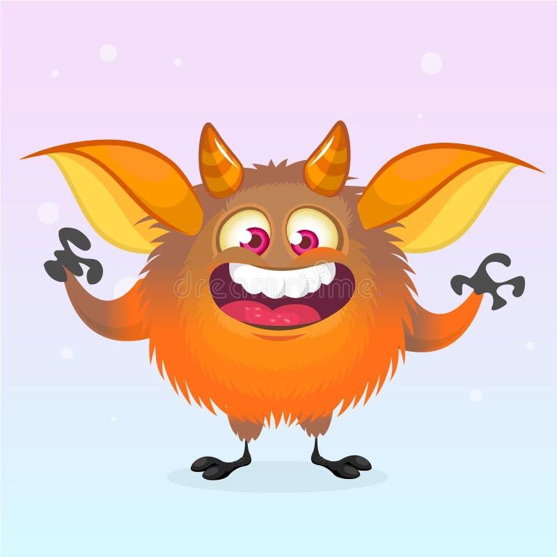 逗人喜爱动画片妖怪微笑 万圣夜传染媒介蓬松橙色妖怪 库存例证