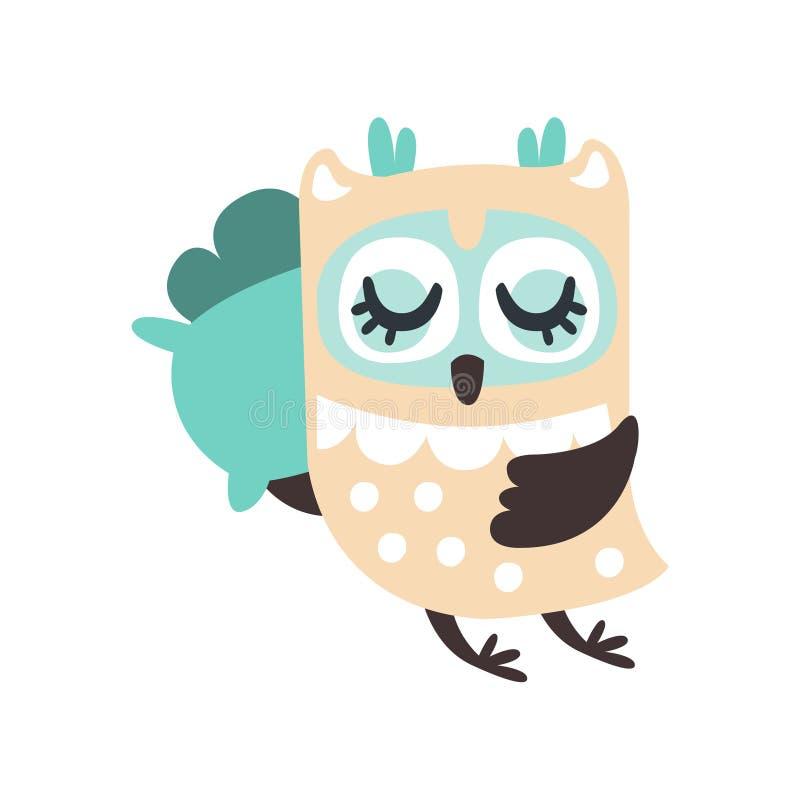 逗人喜爱动画片猫头鹰鸟睡觉五颜六色的字符传染媒介例证 皇族释放例证
