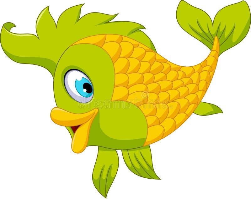 逗人喜爱动画片绿色鱼摆在 向量例证