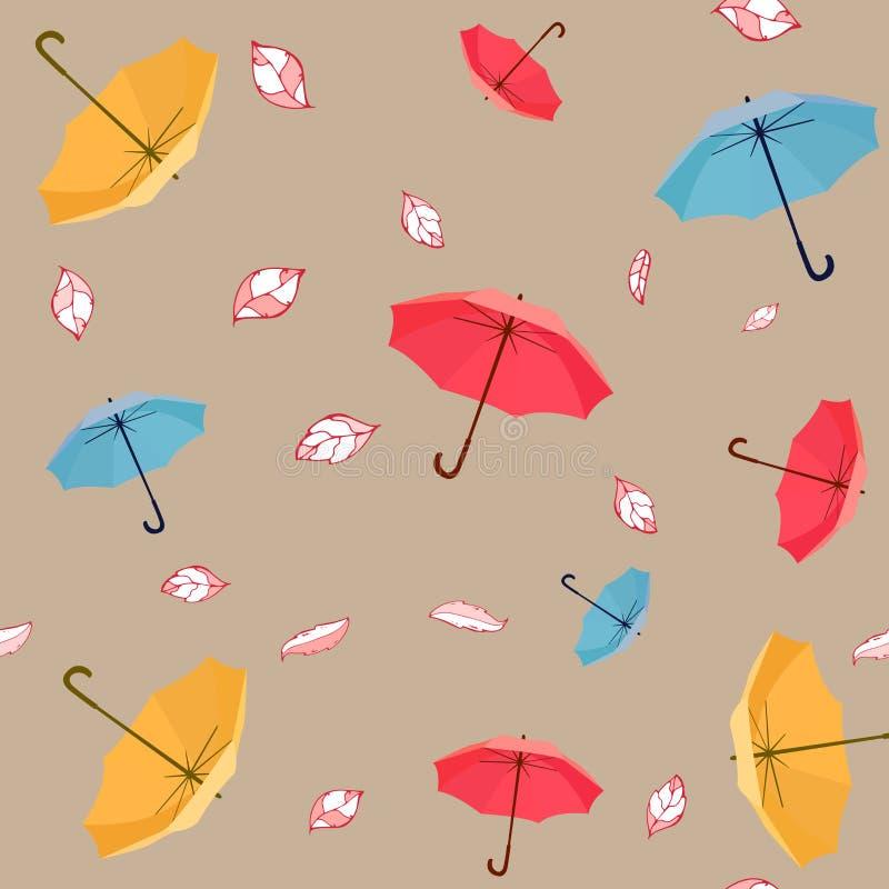 逗人喜爱和五颜六色的与叶子的传染媒介伞无缝的样式孩子衣物和纸产品的 向量例证