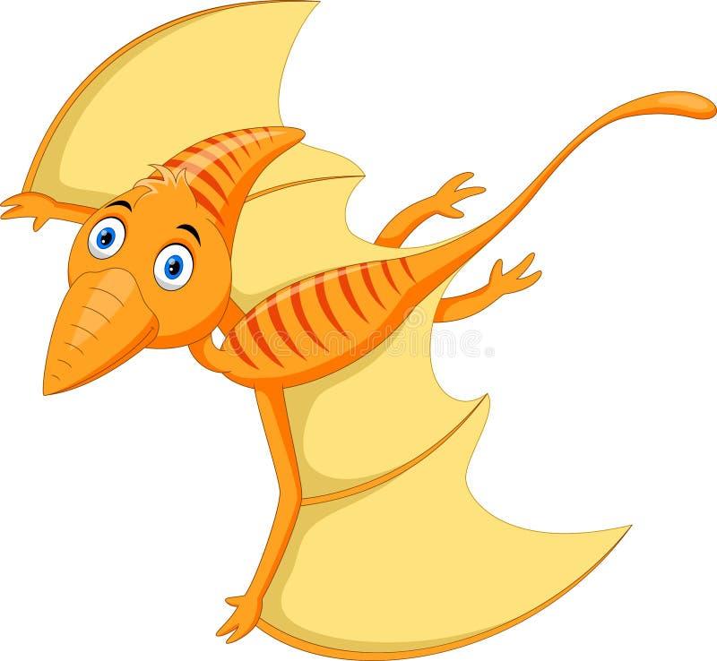 逗人喜爱和可爱的翼手龙动画片飞行 库存例证