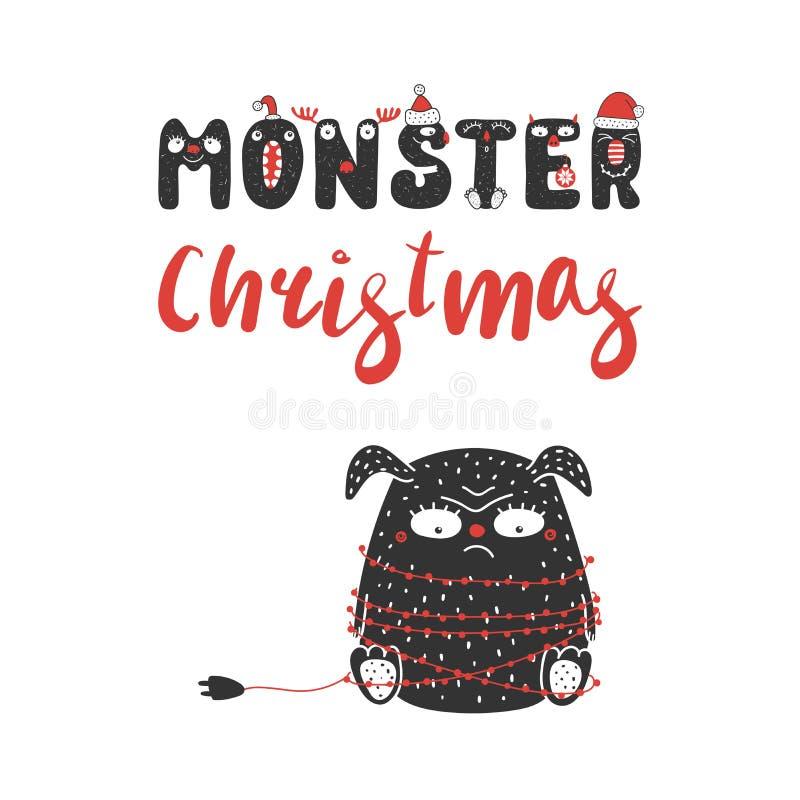 逗人喜爱和滑稽的圣诞节妖怪 皇族释放例证