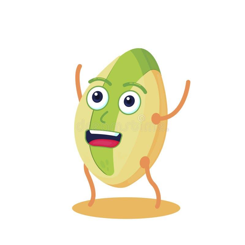 逗人喜爱和滑稽的开心果字符 高蛋白资源 素食主义者食物 向量例证