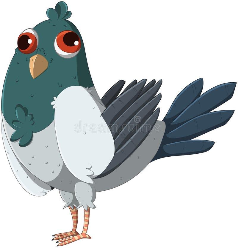 逗人喜爱和滑稽的斜视鸽子 向量例证