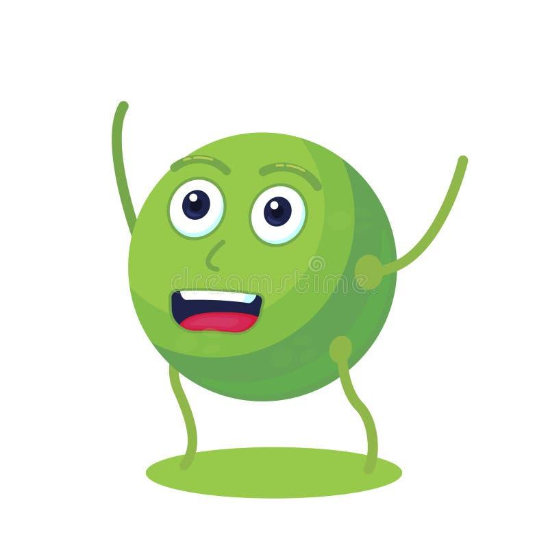 逗人喜爱和滑稽的豌豆字符 高蛋白资源 素食主义者食物 库存例证