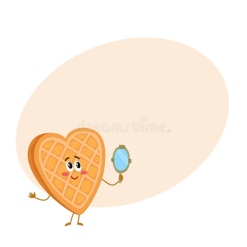 逗人喜爱和滑稽的奶蛋烘饼,调查手扶的镜子的薄酥饼字符 皇族释放例证