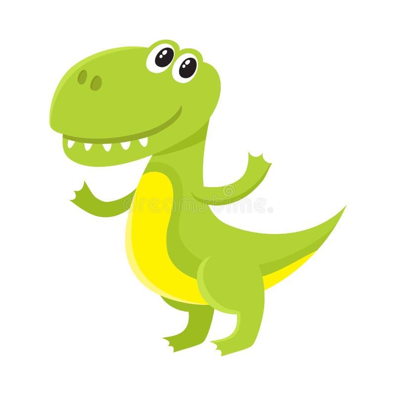 逗人喜爱和滑稽的微笑的小暴龙,恐龙字符,装饰元素 皇族释放例证