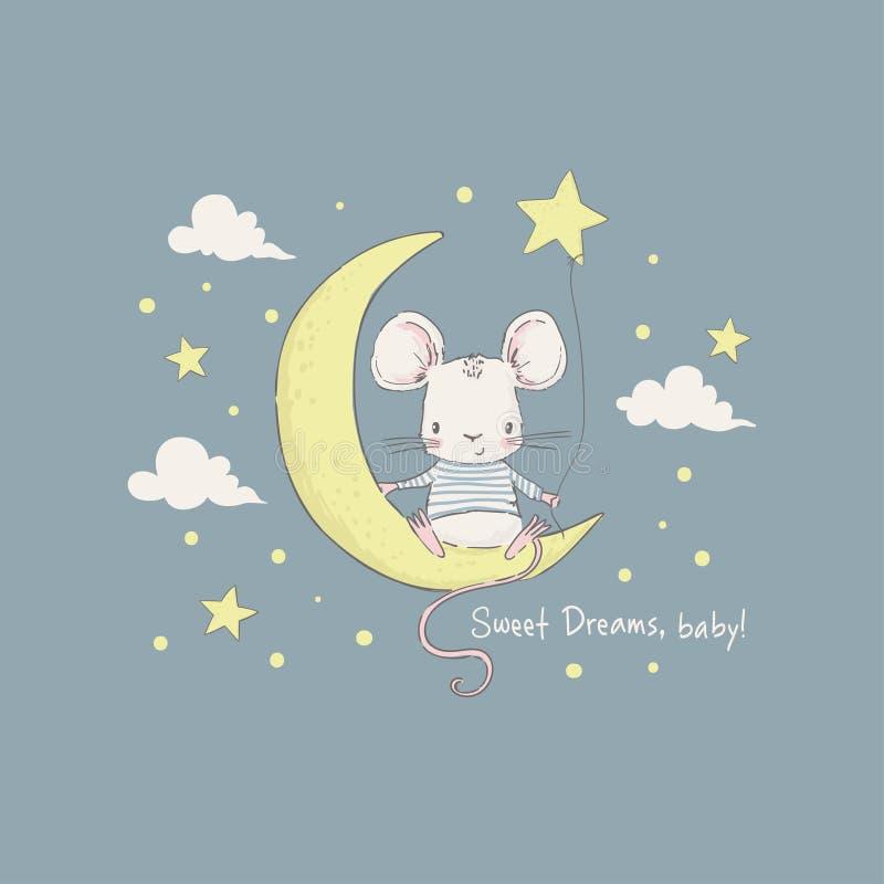 逗人喜爱在月亮的一点老鼠 向量例证