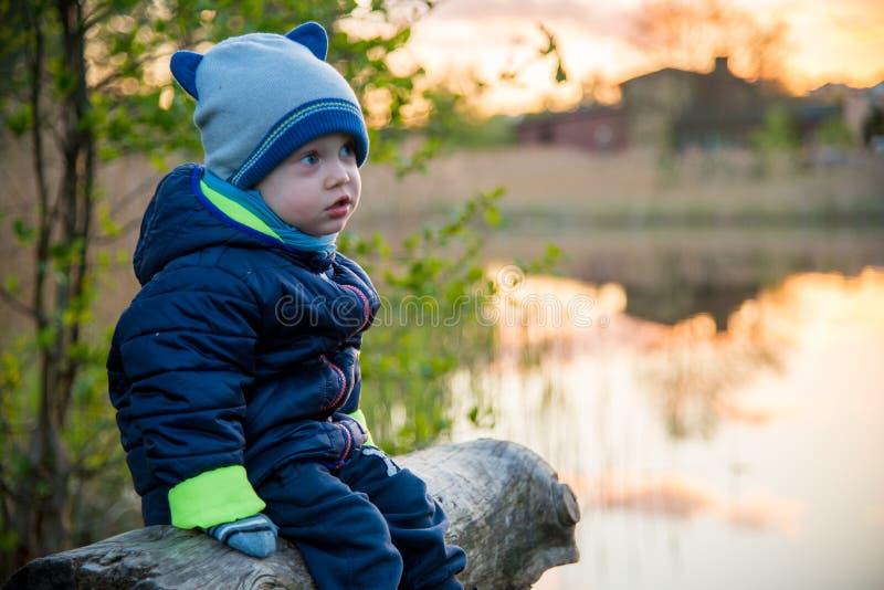 逗人喜爱在湖附近蹒跚男孩户外 库存照片