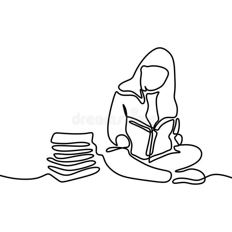 逗人喜爱女孩看书一个实线画的努力学习在考试期间 向量例证