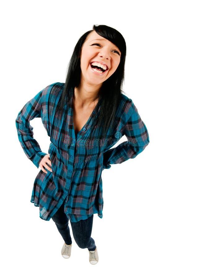 逗人喜爱女孩笑少年 免版税库存照片