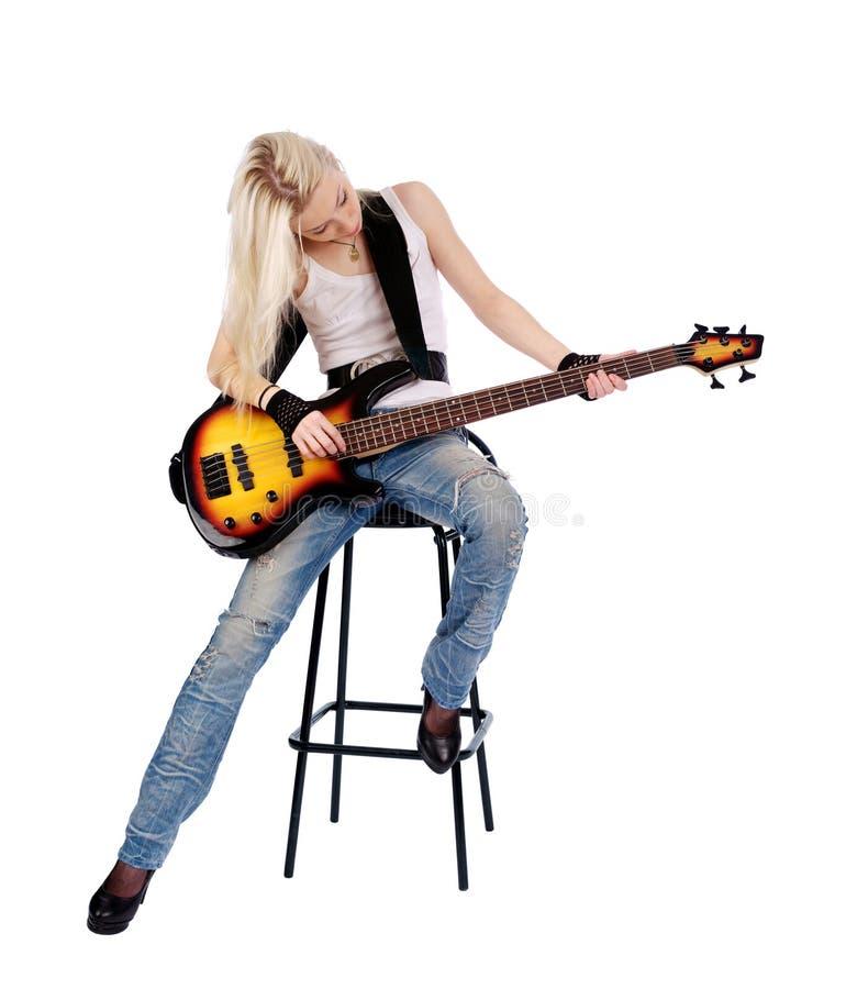 逗人喜爱女性吉他使用 库存图片