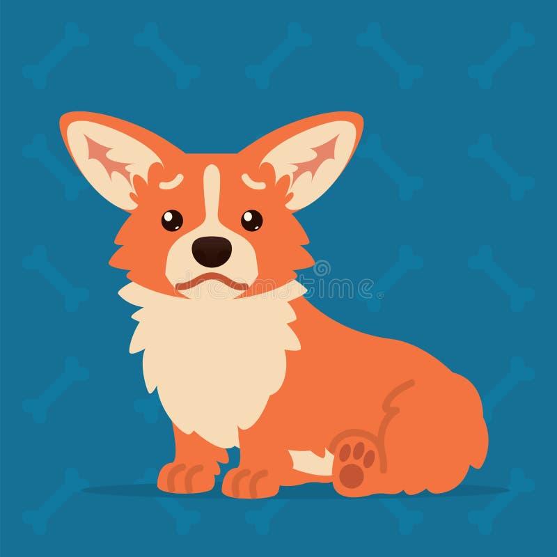 逗人喜爱威尔士小狗坐哀伤 您的设计的元素,印刷品,闲谈,贴纸 Emoji 小狗狗的传染媒介例证 库存例证