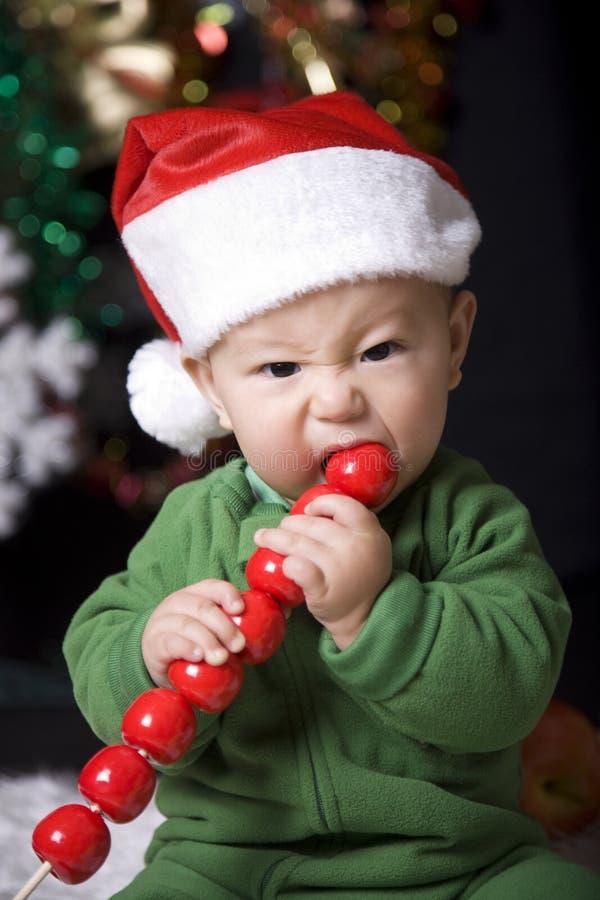 逗人喜爱婴孩的圣诞节 库存图片