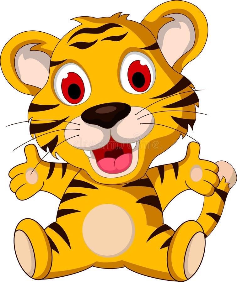 逗人喜爱小老虎摆在 向量例证
