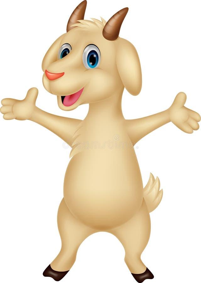 逗人喜爱山羊动画片摆在 库存例证