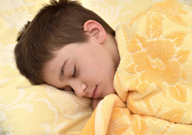逗人喜爱年轻男孩睡觉 免版税图库摄影