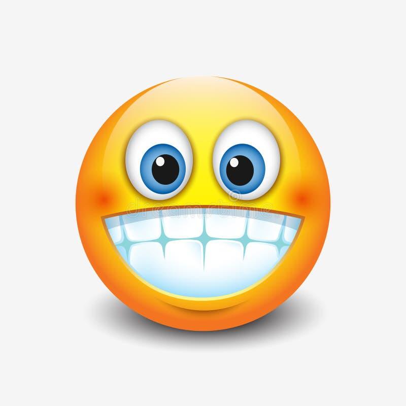 逗人喜爱微笑,显示牙, emoji,面带笑容的咧嘴笑的意思号-导航例证 库存例证