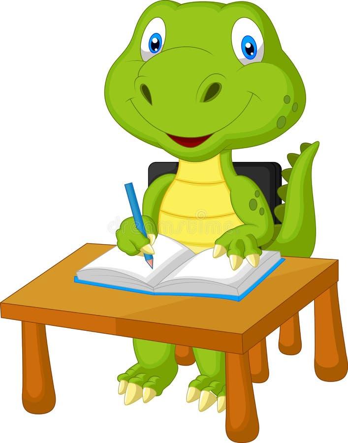 逗人喜爱恐龙学习 向量例证