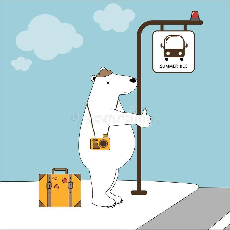 逗人喜爱极性涉及假期在公交车站在夏日 免版税库存照片