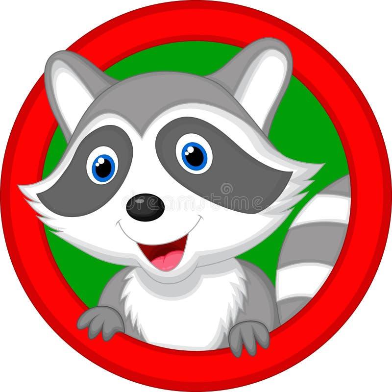 逗人喜爱浣熊动画片摆在 库存例证
